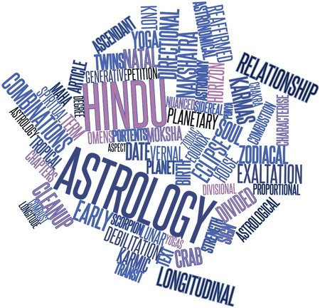 signifies: Abstract word cloud for Hindu astrology with related tags and terms Stock Photo