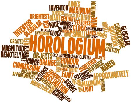 approximately: Abstract word cloud for Horologium with related tags and terms