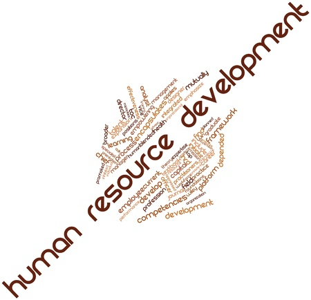 employee development: Abstract word cloud for Human resource development with related tags and terms