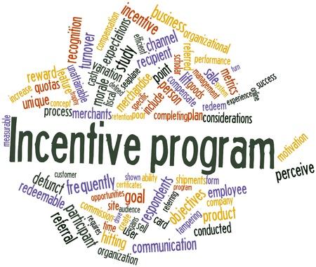 Abstraktes Wort-Wolke für Incentive-Programm mit entsprechenden Tags und Begriffe
