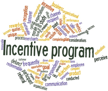 reconnaissance: Nuage de mot abstrait pour le programme d'encouragement avec des �tiquettes et des termes connexes Banque d'images