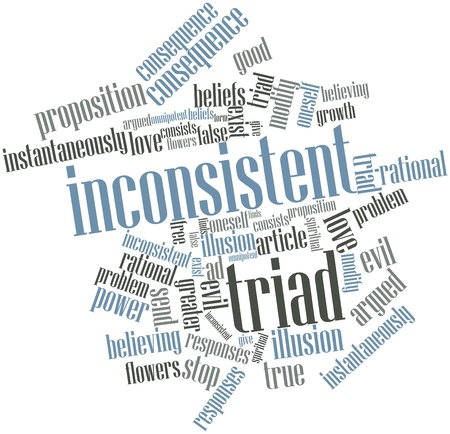 greater: Abstract word cloud for Inconsistent triad with related tags and terms Stock Photo