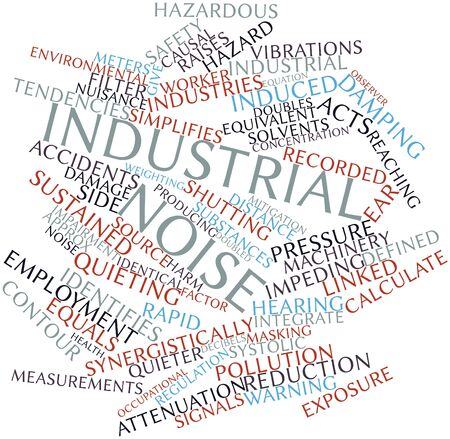 quieter: Abstract word cloud for Industrial noise with related tags and terms Stock Photo