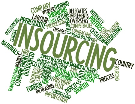 time deficit: Abstract word cloud for Insourcing with related tags and terms Stock Photo