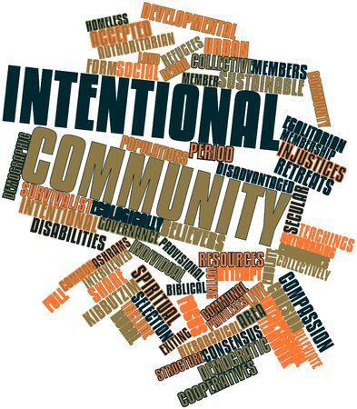 rural community: Abstract word cloud for Intentional community with related tags and terms