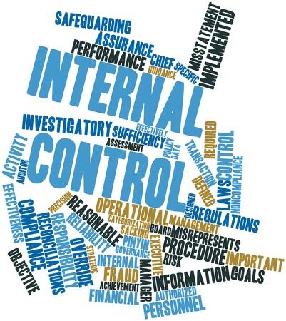 Abstract woordwolk voor interne controle met gerelateerde tags en voorwaarden
