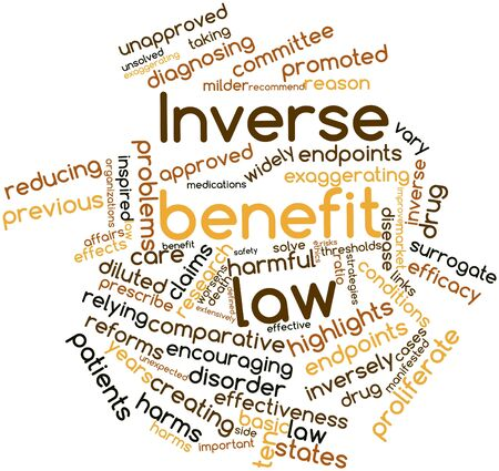 unapproved: Abstract word cloud for Inverse benefit law with related tags and terms