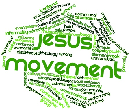 pejorative: Abstract word cloud for Jesus movement with related tags and terms