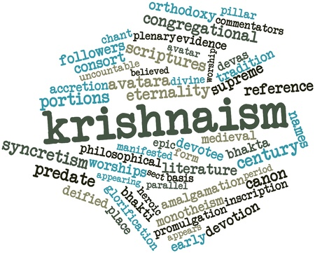 the scriptures: Abstract word cloud for Krishnaism with related tags and terms
