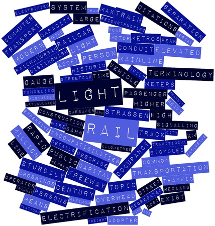 reconstructing: Abstract word cloud for Light rail with related tags and terms Stock Photo