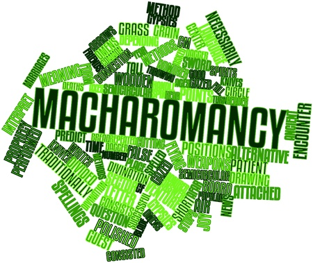 admirer: Abstract word cloud for Macharomancy with related tags and terms Stock Photo