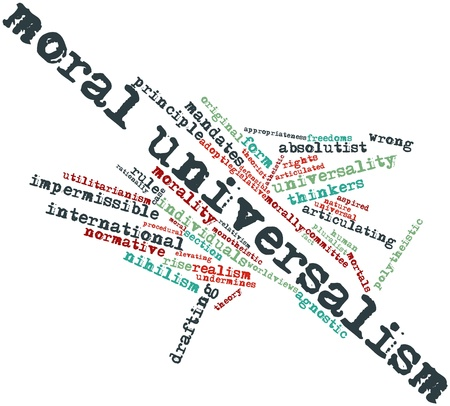 Abstract word cloud for Moral universalism with related tags and terms