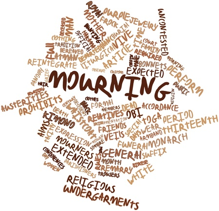 suffix: Abstract word cloud for Mourning with related tags and terms Stock Photo