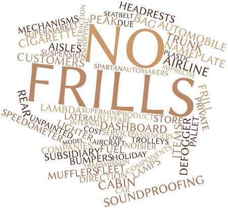 dispensing: Abstract word cloud for No frills with related tags and terms Stock Photo
