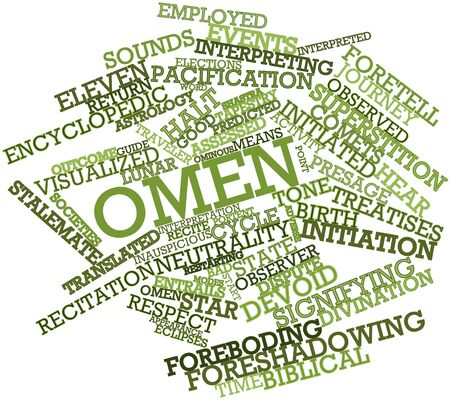 omen: Abstract word cloud for Omen with related tags and terms Stock Photo