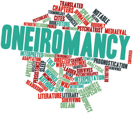 omens: Abstract word cloud for Oneiromancy with related tags and terms