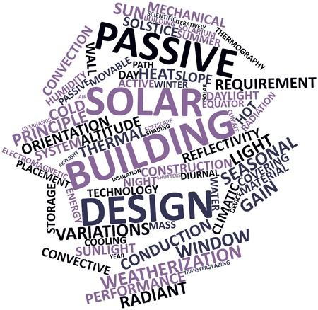 solstice: Abstract word cloud for Passive solar building design with related tags and terms Stock Photo