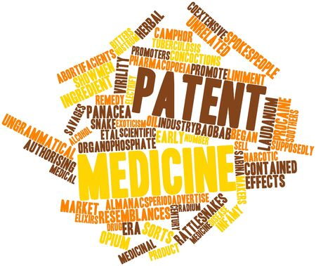 unrelated: Abstract word cloud for Patent medicine with related tags and terms