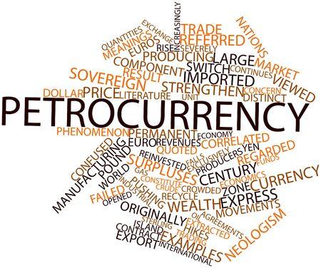 increasingly: Word cloud astratto per Petrocurrency con tag e termini correlati Archivio Fotografico