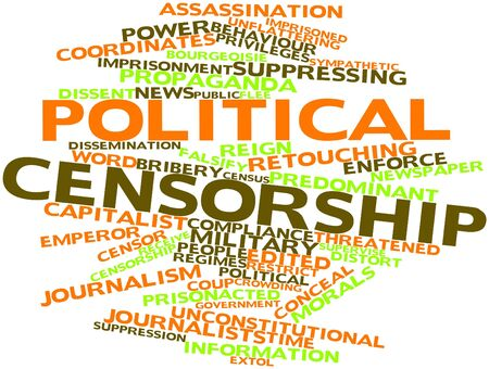 Abstract word cloud for Political censorship with related tags and terms photo