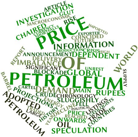 listings: Abstract word cloud for Price of petroleum with related tags and terms Stock Photo