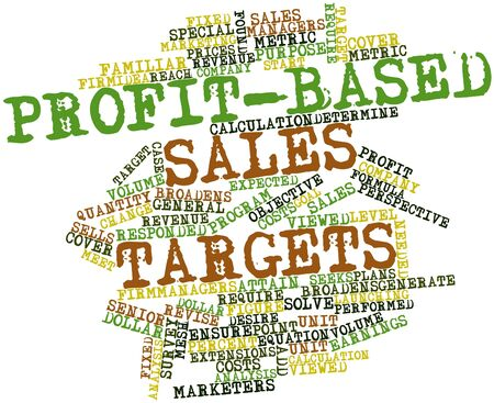 Abstract word cloud for Profit-based sales targets with related tags and terms
