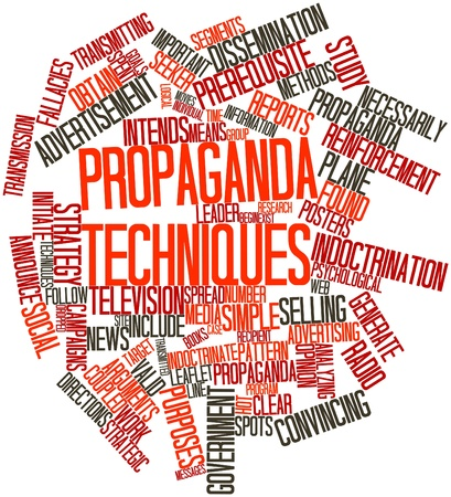 dissemination: Abstract word cloud for Propaganda techniques with related tags and terms Stock Photo