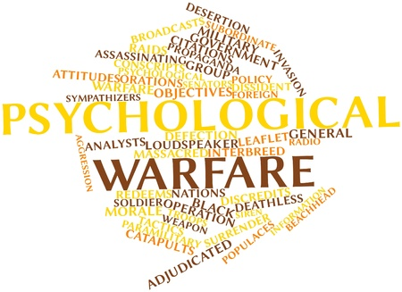 mitigated: Abstract word cloud for Psychological warfare with related tags and terms