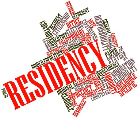 selects: Abstract word cloud for Residency with related tags and terms Stock Photo
