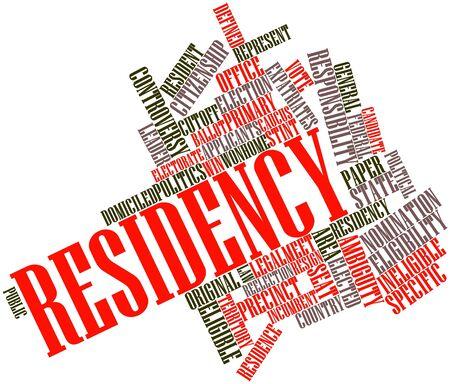 lak�hely: Absztrakt szó felhő az Residency kapcsolódó címkék és kifejezések Stock fotó