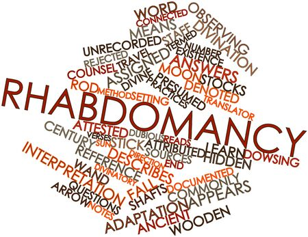 denoted: Abstract word cloud for Rhabdomancy with related tags and terms Stock Photo