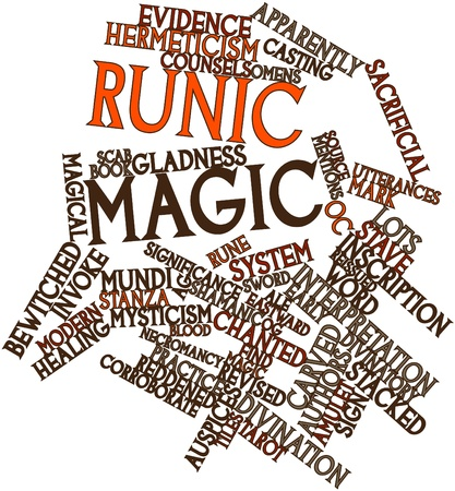 Abstract word cloud for Runic magic with related tags and terms