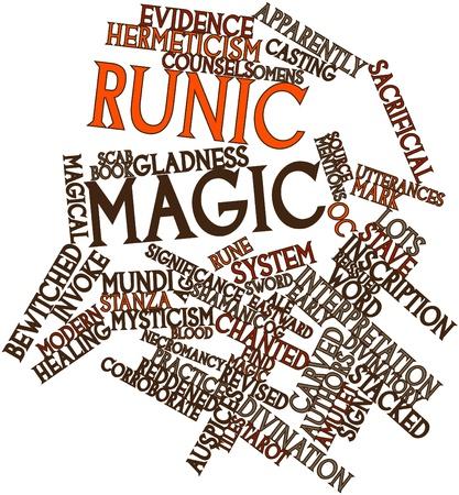 estrofa: Nube palabra abstracta para la magia r�nica con etiquetas y t�rminos relacionados Foto de archivo