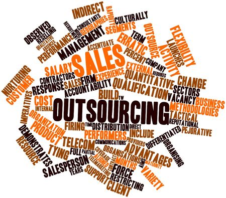 outsourcing: Abstract word cloud for Sales outsourcing with related tags and terms
