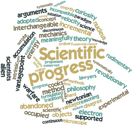 discontinuous: Abstract word cloud for Scientific progress with related tags and terms Stock Photo