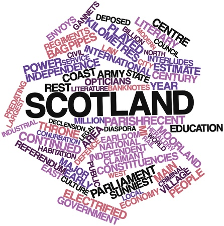 deposed: Abstract word cloud for Scotland with related tags and terms
