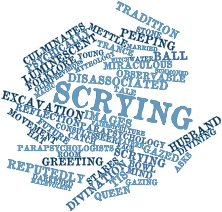 divining: Abstract word cloud for Scrying with related tags and terms