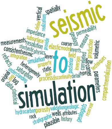 porosity: Abstract word cloud for Seismic to simulation with related tags and terms