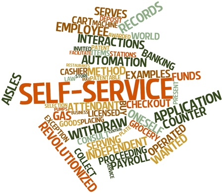 proceeding: Abstract word cloud for Self-service with related tags and terms Stock Photo