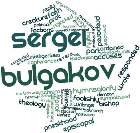 economist: Abstract word cloud for Sergei Bulgakov with related tags and terms Stock Photo