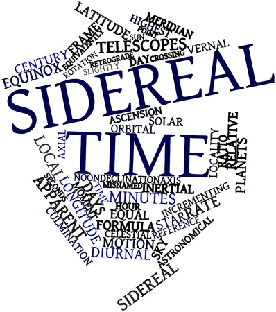 axial: Abstract word cloud for Sidereal time with related tags and terms Stock Photo