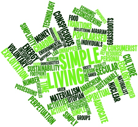 resonating: Abstract word cloud for Simple living with related tags and terms