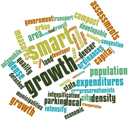 assessments: Abstract word cloud for Smart growth with related tags and terms