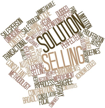 implications: Abstract word cloud for Solution selling with related tags and terms Stock Photo