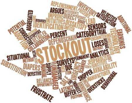 initiatives: Abstract word cloud for Stockout with related tags and terms Stock Photo
