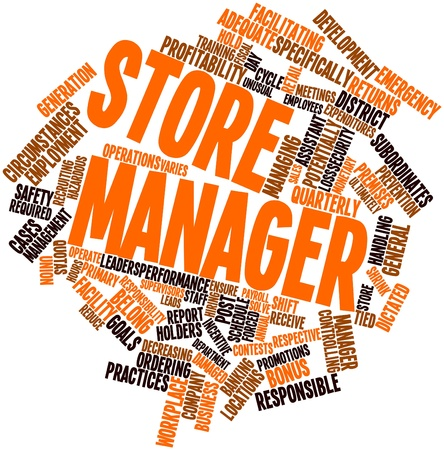 employee development: Abstract word cloud for Store manager with related tags and terms