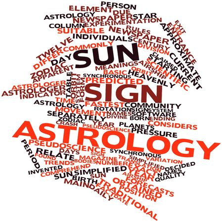 predicted: Abstract word cloud for Sun sign astrology with related tags and terms