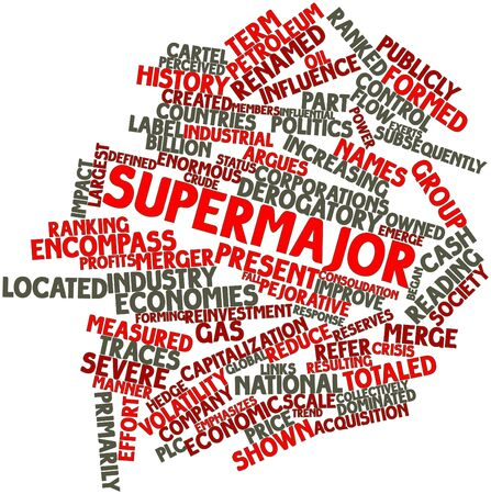 pejorative: Abstract word cloud for Supermajor with related tags and terms Stock Photo