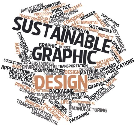 detrimental: Abstract word cloud for Sustainable graphic design with related tags and terms Stock Photo