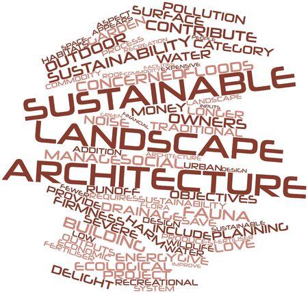 contaminacion acustica: Nube palabra abstracta para la arquitectura del paisaje sostenible con las etiquetas y términos relacionados